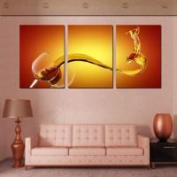 3 Piece Wall Art Picture Wine Splash Wall Art Canvas Oil ...