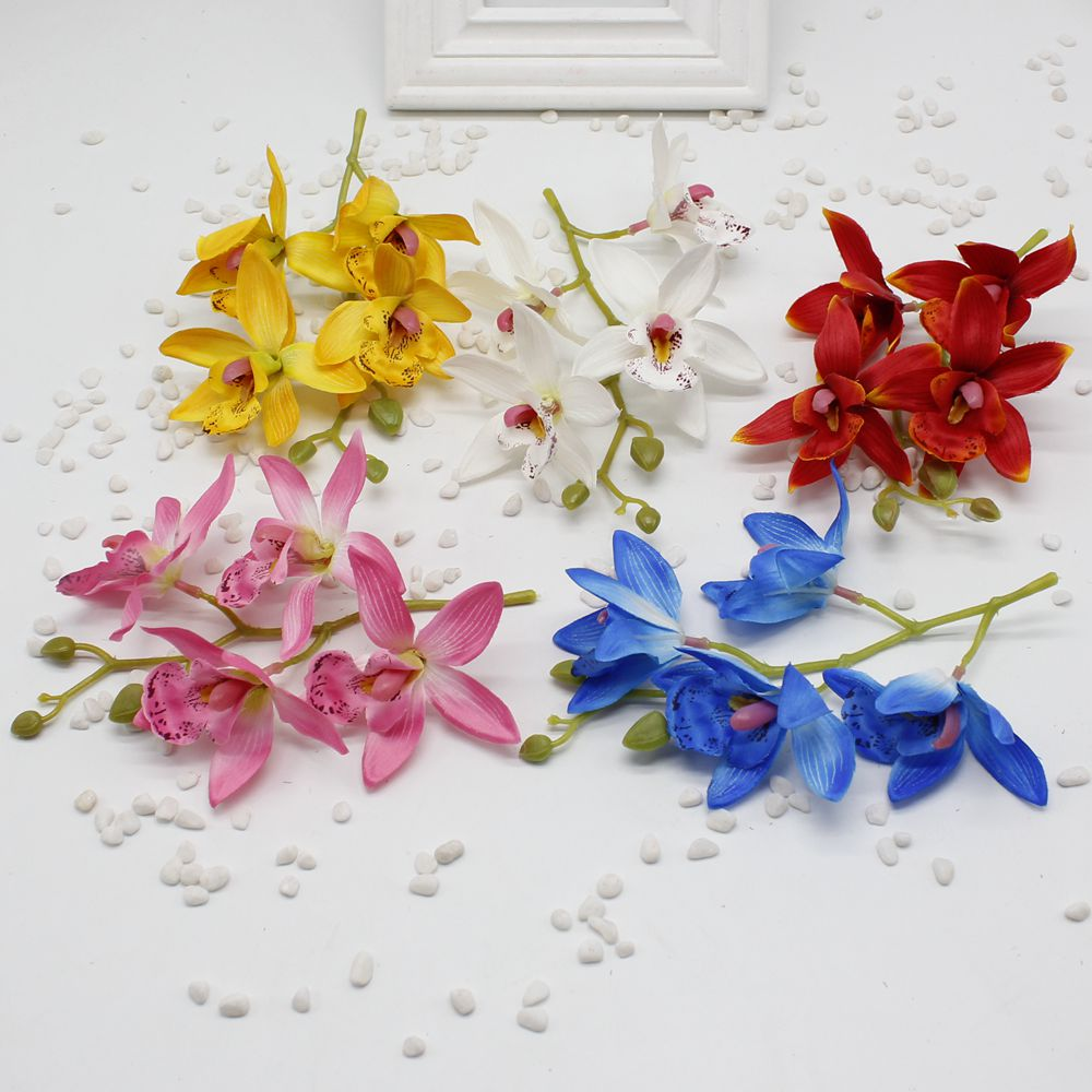 1 Pcs Lot Silk Artificial Orchid Bouquet For Home Party Wedding