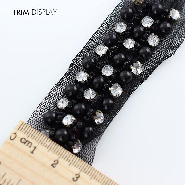⃝5 cour Artisanat Perlé Noir Perle Cristal Strass Décoré Dentelle ... 4e383b3d84b