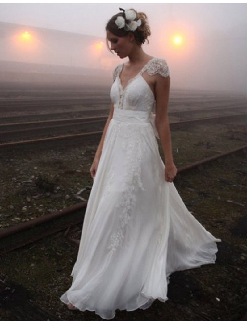 2016 Vintage Chiffon Lace Wedding Dresses Sleeve Romantic Boho Bridal Bride Wedding Gown Robe De