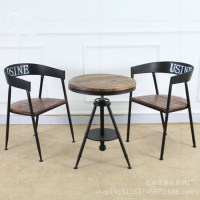 Retro furniture, wrought iron wood round coffee table Bar ...