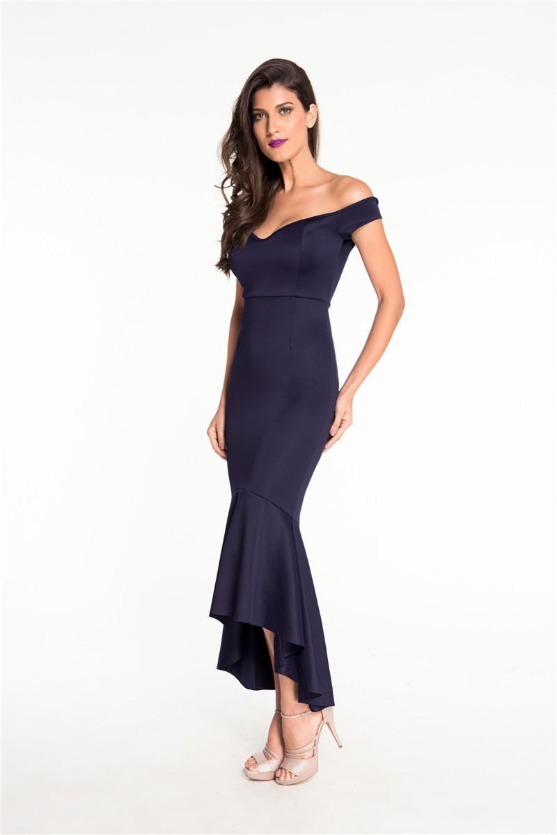 Maroon Off the Shoulder Formal Dress