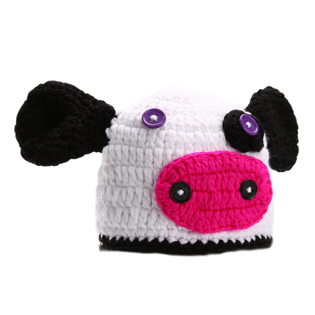 ᐂRecién Nacidos vaca diseño historieta del sombrero del ganchillo ...