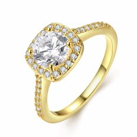 18k white gold plated rings Engagement bague cz diamond ...