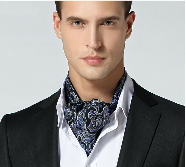 winter and autumn faced silk male cravat suit shirt long