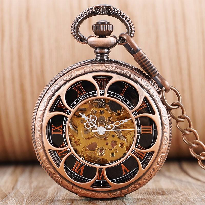 126afb8dfba 2016 Nova Auto-vento Automático Mecânica Pocket Watch Rose Gold Oco  Esqueleto Moda Fob Relógios Relogio De Bolso