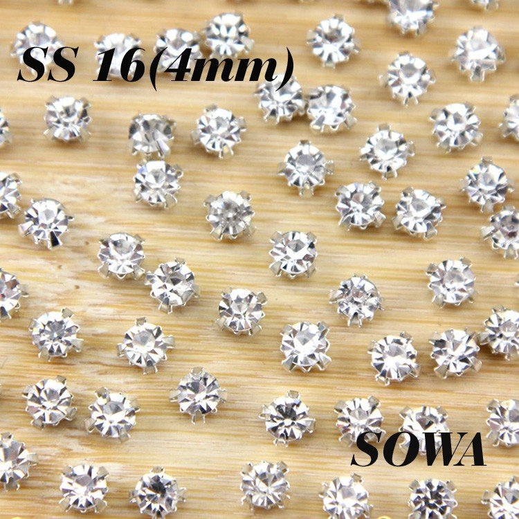 Free Shipping 144pcs lot ss16(4mm) Silver Loose Crystal Sew On Beads ... f869c988e042