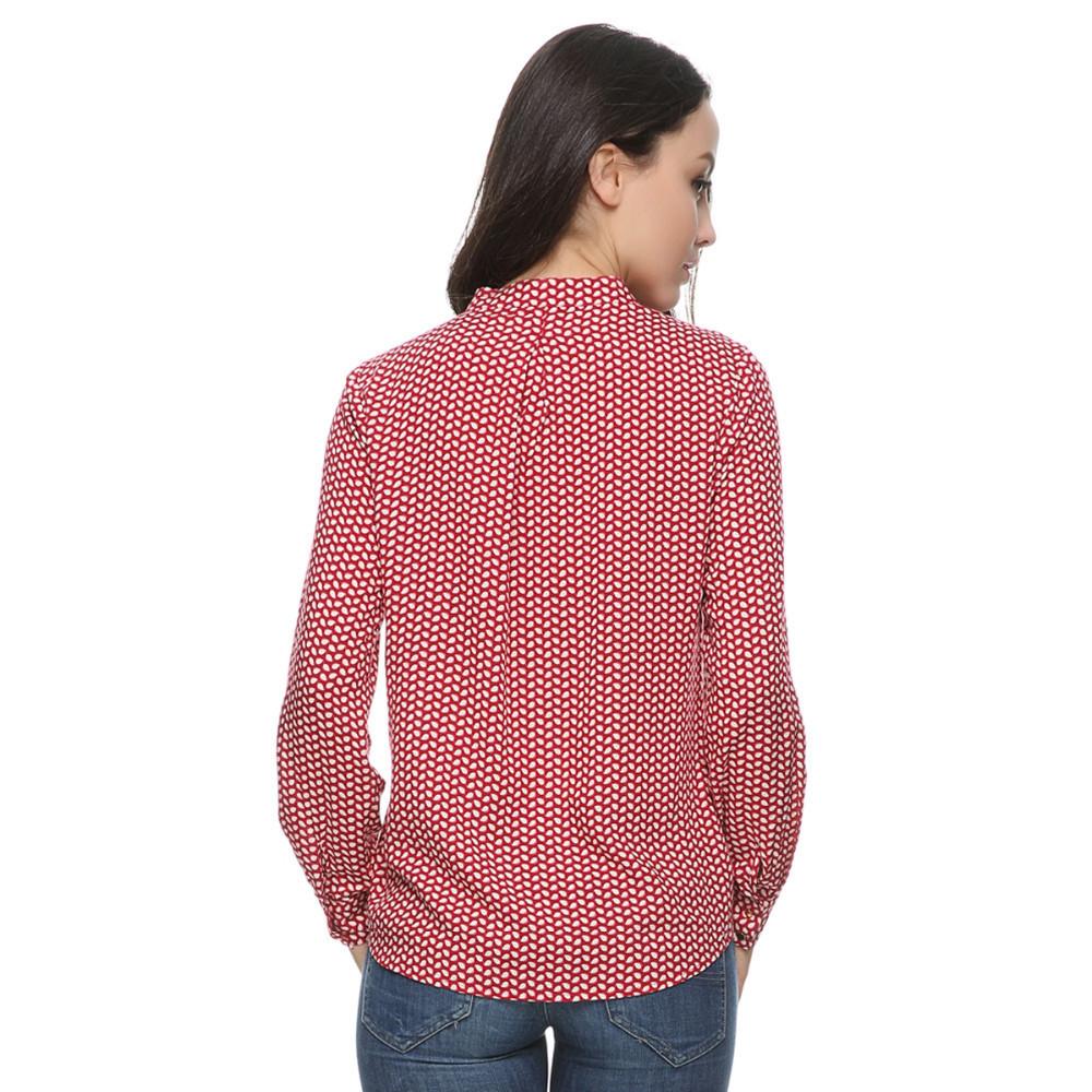 ̀ •́ Mujer rojo deja blusas de algodón vintage stand collar manga ...