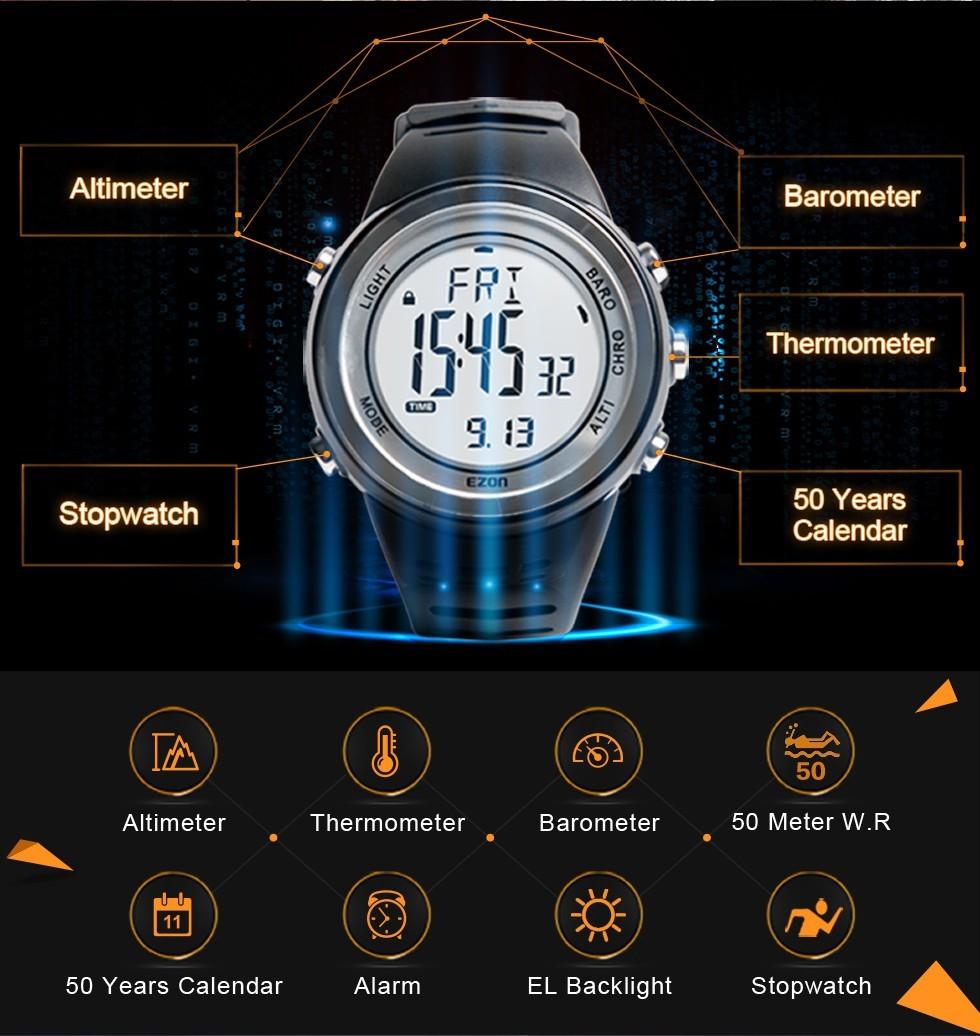 5934f1a5c37 EZON moda deporte reloj hombres impermeable senderismo escalada altímetro  barómetro reloj digital Reloj Saat Relogio Masculino