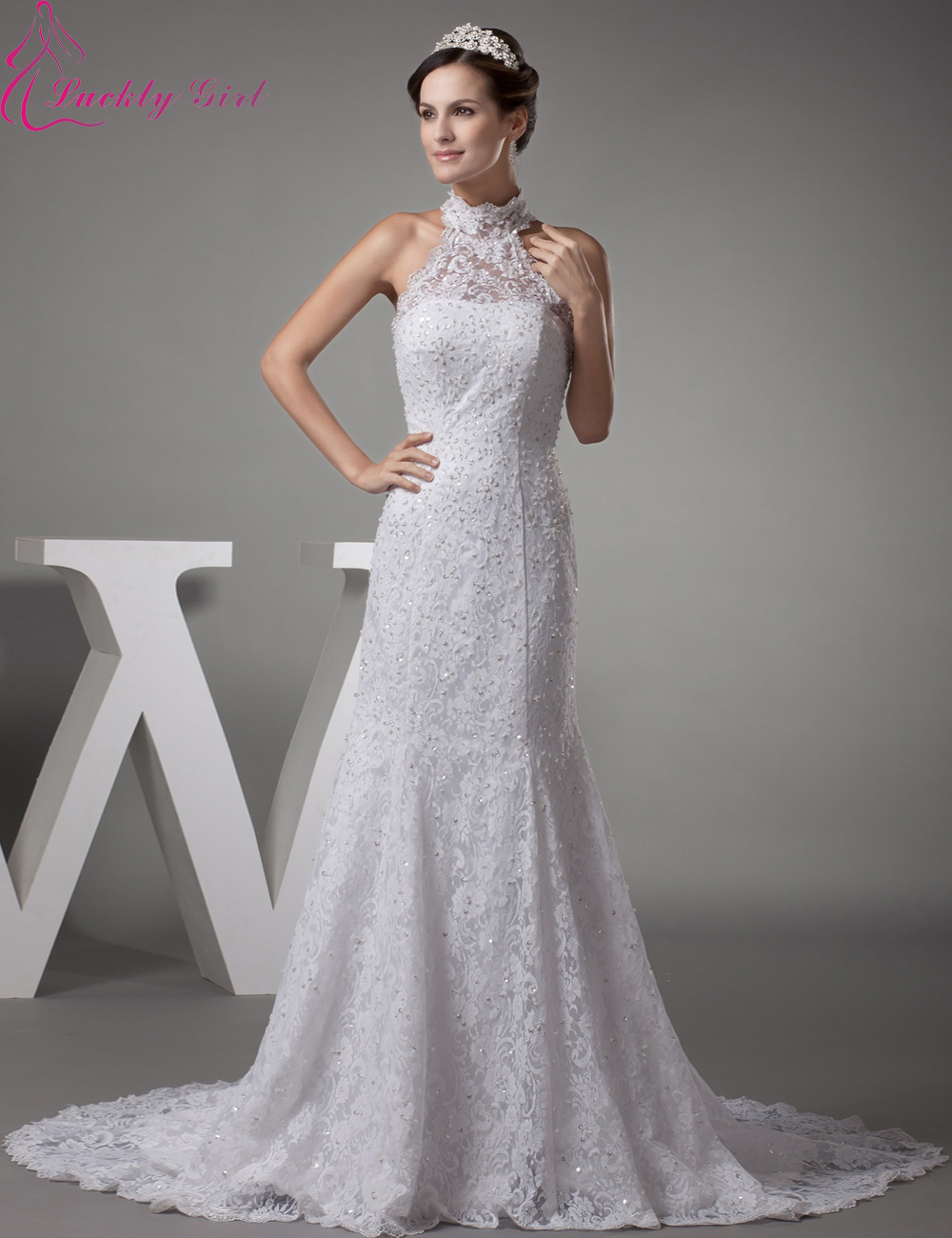 2015 New Vintage Wedding Dress High Neck Sweetheart Beading High Quality Mermaid Wedding Dress