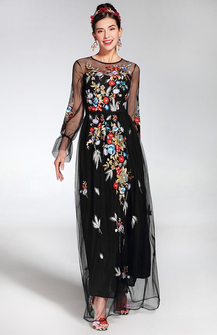 c814a1d6f 2019 de moda de la pista de las mujeres Maxi vestido elegante de ...