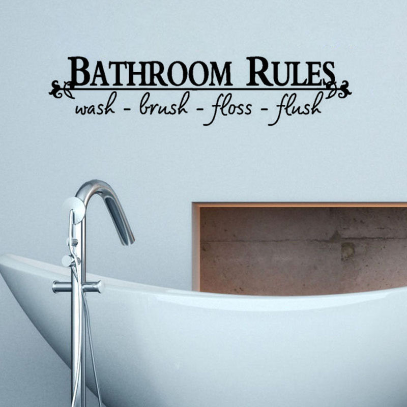 Bathroom Rules Waterproof Wall Stickers Quotes Home Decor Bathroom Wall  Decal Words Vinyl Art Mural D522