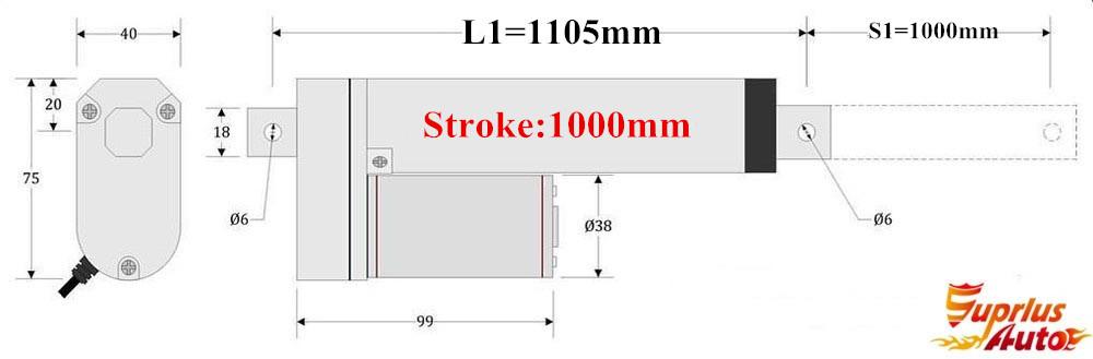 ▽50% de descuento! Super 1000mm (1 m) longitud de carrera 12 V ... ade3aa65f5ea