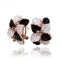 E472 Bulgaria flower black and white stud earrings new ...