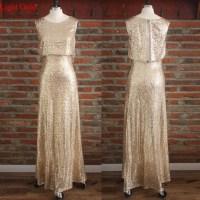 Sparkling long gold sequin bridesmaid dresses, custom 2015 ...