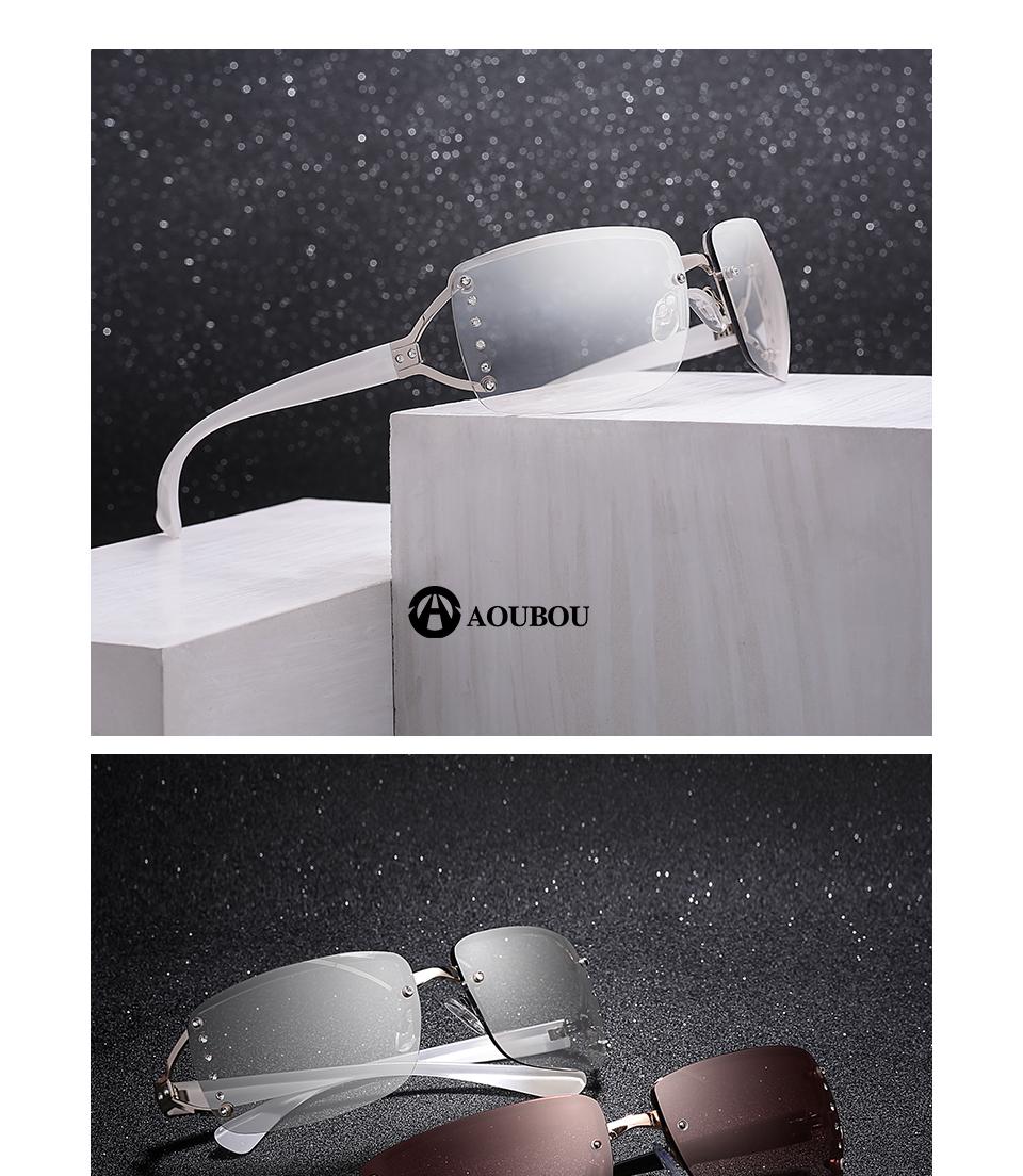 e3616362d1 Aoubou 2017 vintage rimless Gafas de sol mujeres de lujo diamante diseño cuadrado  blanco Marcos marca Sol Gafas para las mujeres con la caja ab702