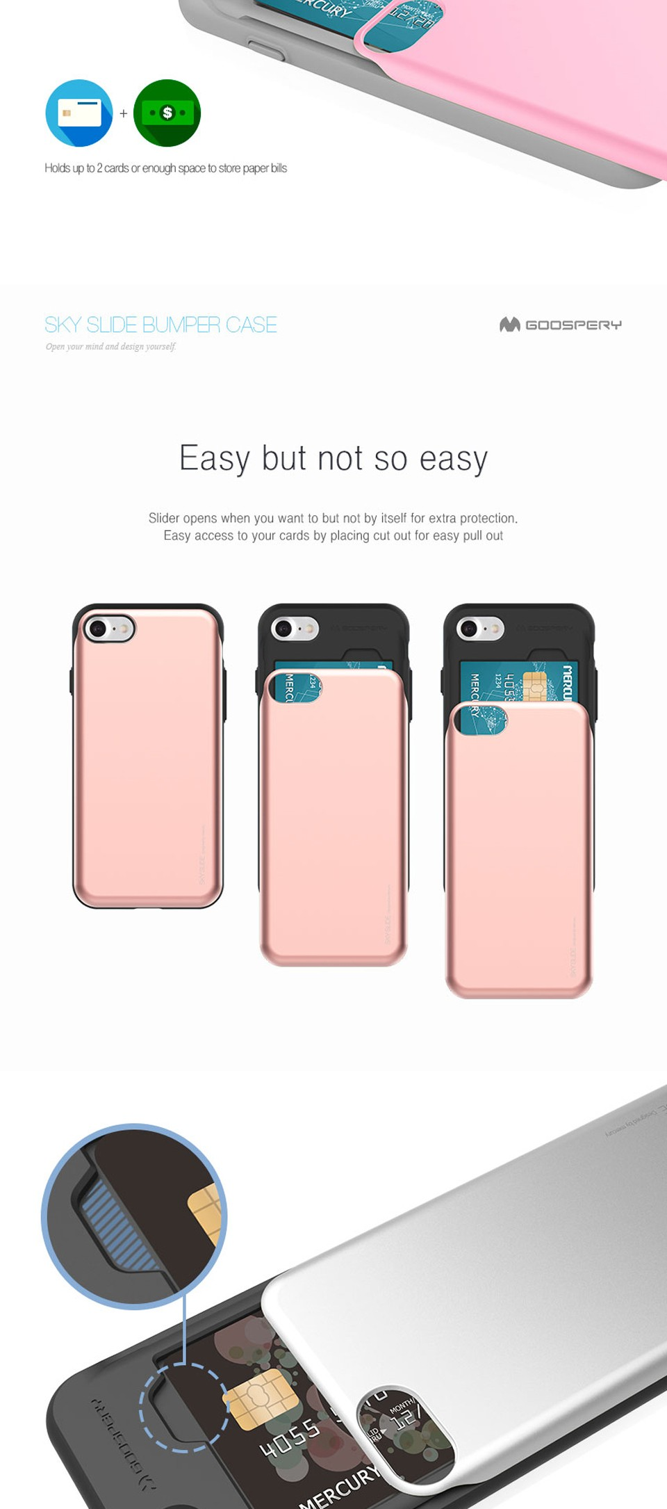 Noriginal Brand Card Wallet Phone Case For Iphone 6 6s 7 Plus Goospery Sky Slide Bumper Black Ip7 Detail Eng 01 02 03 04 05