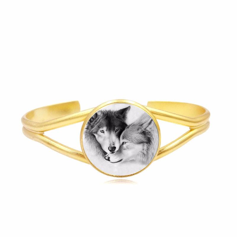Vidrio Cabochon brazalete pulseras amantes del lobo arte cuadro joyería  plateada plata brazalete pulsera mujeres regalo de alta calidad 413f6b2274f