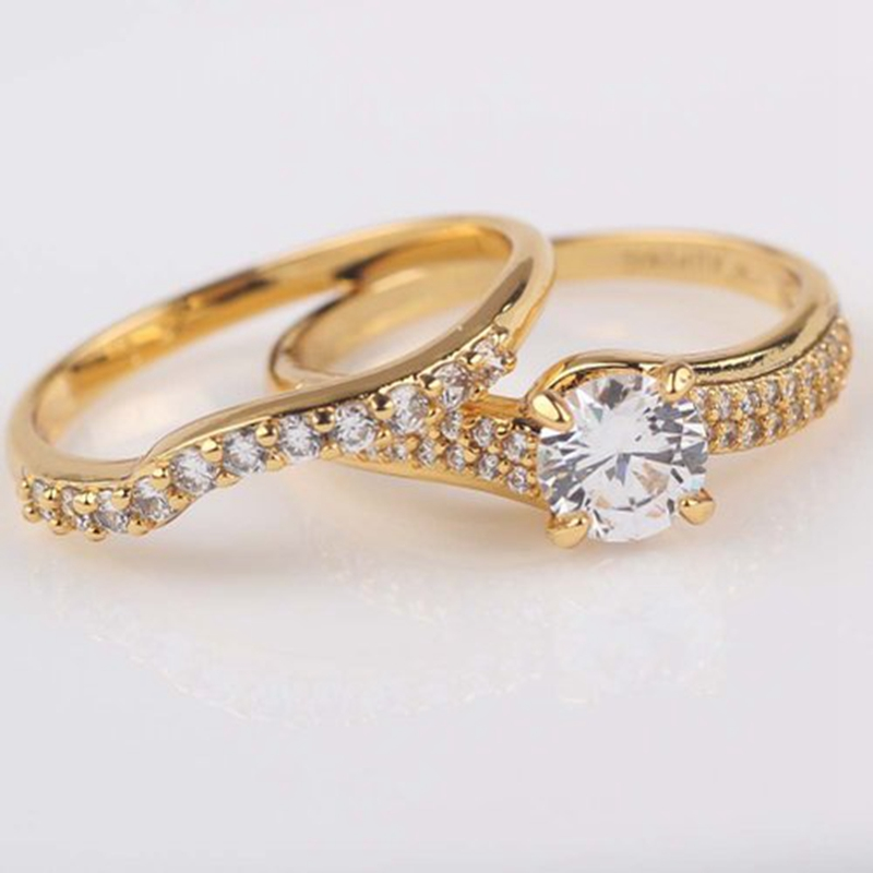 Engagement Rings 24k Yellow Gold Filled Womens Mens Ring