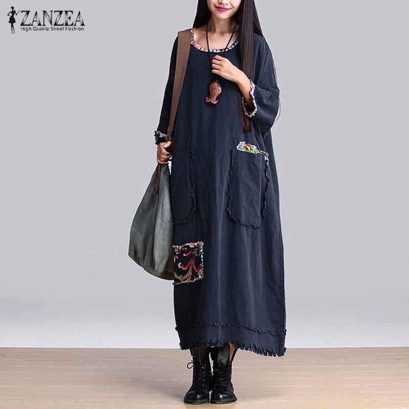 ᗔZanzea mujeres vintage vestido elegante 2016 otoño empalme o ... bf4508128b1