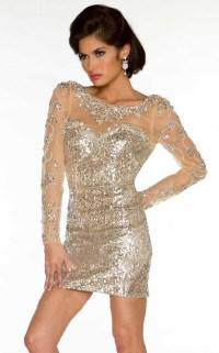 2015 Gold Cocktail Dresses Champagne Sequins Short Prom