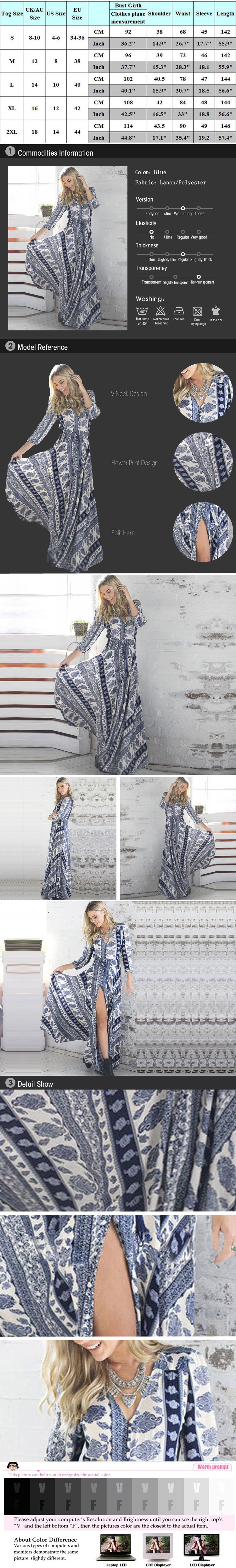 b4a0e1ee72 Maxi długi vintage dress nowy styl europejski three quarter rękawem v-neck  print dress kobiety moda sexy wiosna lato sukienki