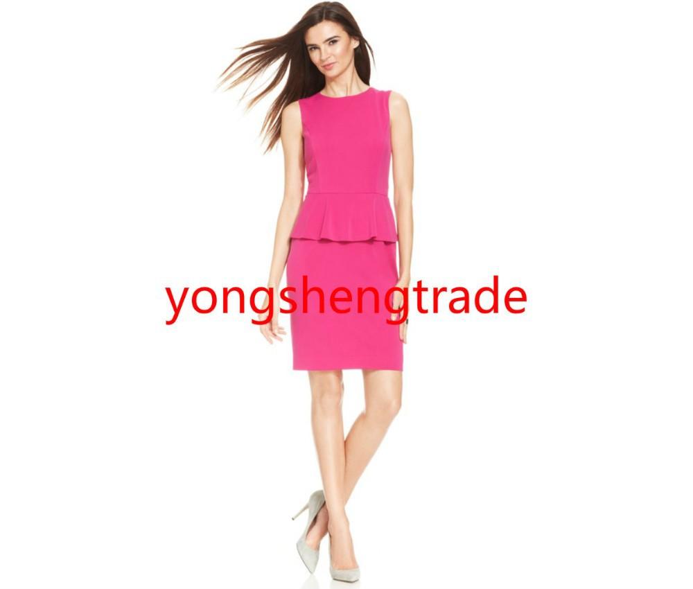 ᗖPor encargo traje rosa de un solo botón stretch blazer cuello chal ...