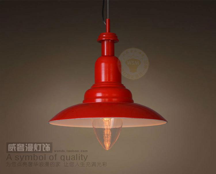 Red Vintage Industrial Pendant Light Metal Hanging Ceiling
