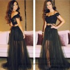 Black Off the Shoulder Two Piece Prom Dress