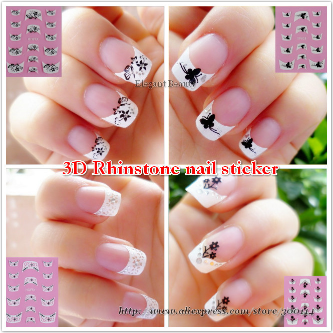 White French Tip Nail Art With Pink And Black Border Follow