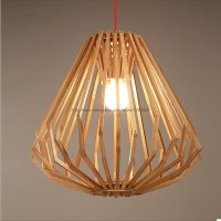 Modern Nordic Style Wooden Diamond Pendant Light Lamp Wood ...