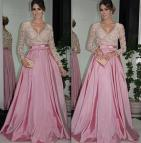 Pink Evening Gown Long Sleeve Dress