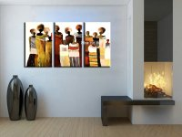 3 panel abstract hand painted decorative canvas wall art ...