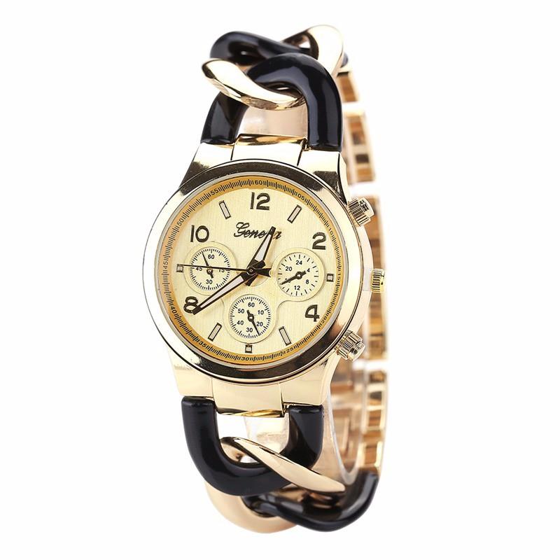 30c958cb2dd7 ... acero inoxidable damas pulsera de oro moda Ginebra vestido pulsera  reloj aeProduct.