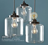 1 Vintage Retro Clear Glass Bottle Pendant Light Mason Jar ...