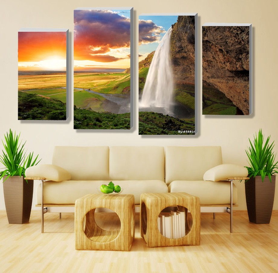 ᐅ4 panel sets beautiful nature landscape painting waterfall modern ...