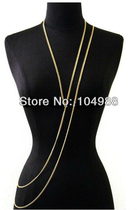 7095eb5adab2 ᑐNueva joyería llegadas moda mujer joyería collar de cadena 2 capas cadena  collar oro plata Cadena 3 colores - a925