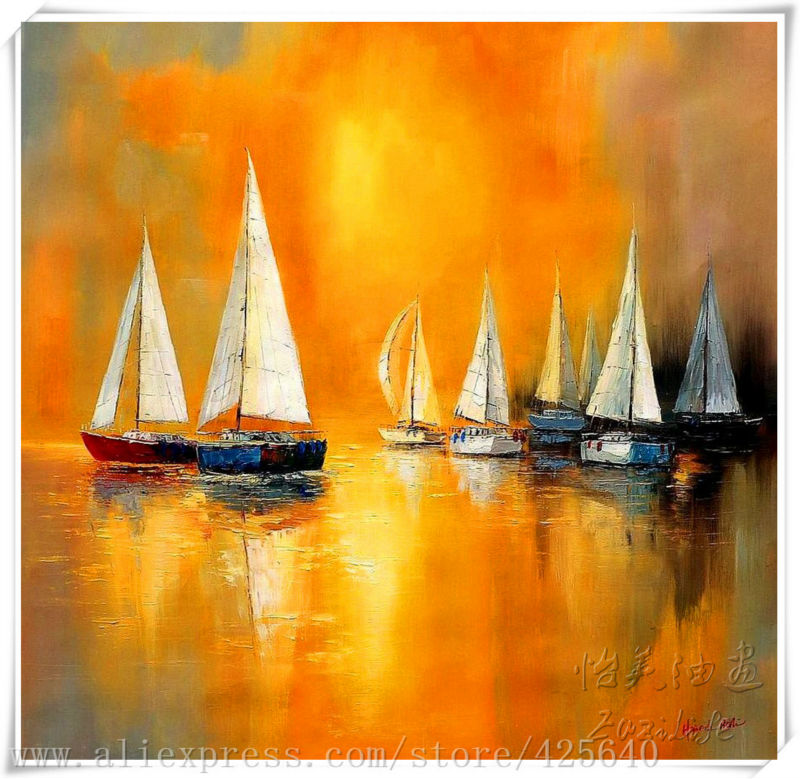 ᐂsailing boat in the Sea Oil painting on canvas hight Quality Hand ...