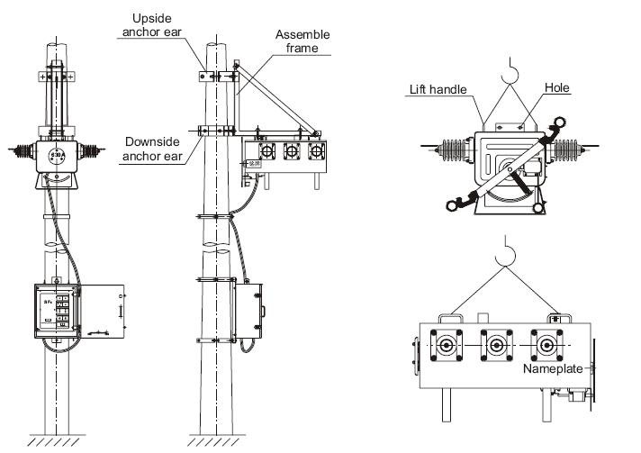 Flw34-12 12kV 630A moyenne tension pôle extérieur monté