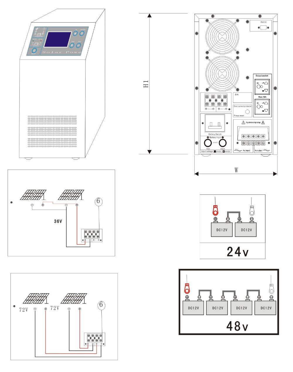 1000w Ups Funtion Power Inverter Dc 24v Ac 220v Circuit