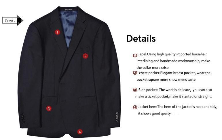 4a9c1eccd8 Venta caliente 100% lana azul oscuro dos botones muesca solapa dos piezas  (chaqueta + negro) trajes a medida