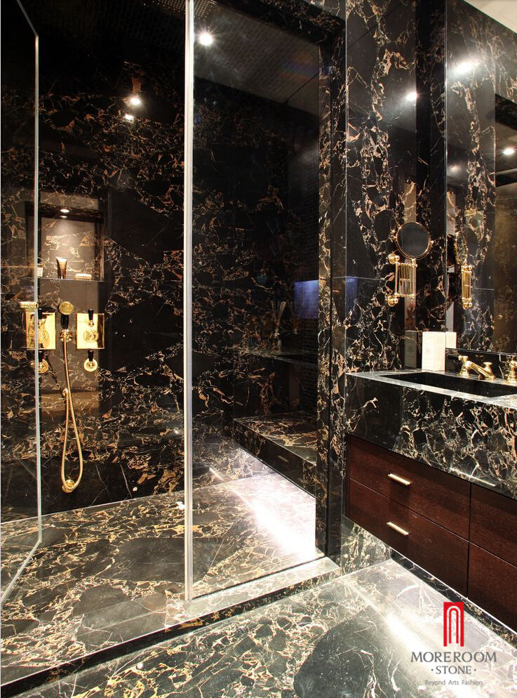 Italy Porto Venere Top Portoro Gold Marble Slab for Luxury