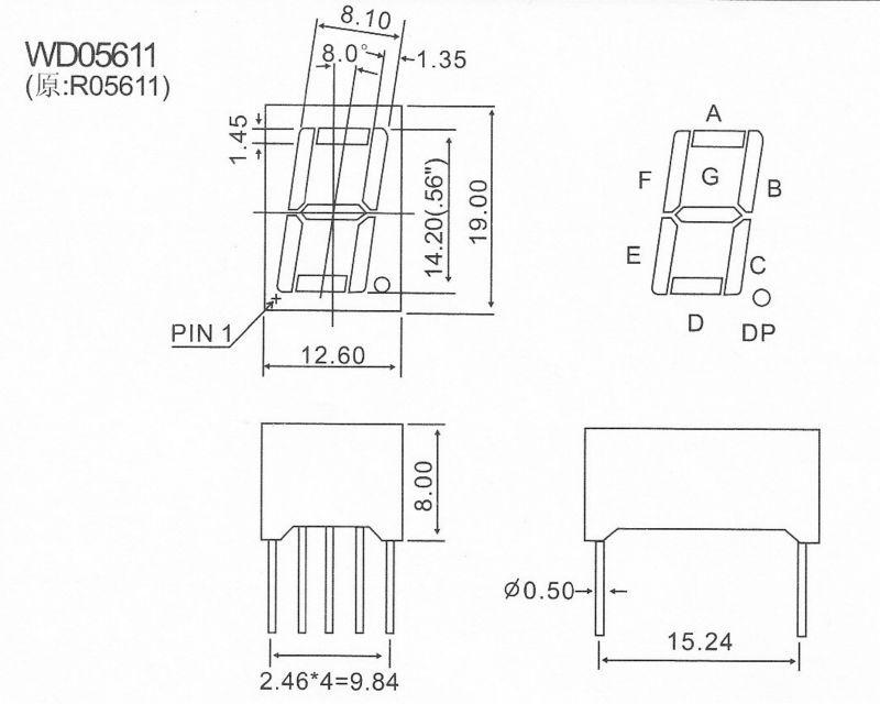 barato de sete segmentos / 7 segmentos display LED 0,56