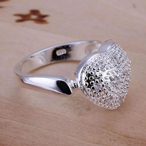 429eca9da2fb ộ ộ ༽Con incrustaciones abierto Corazón del anillo 925 anillo de ...