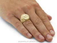 Mens Jewelry 14k Gold Plated Sporty Champion Coin Ring ...