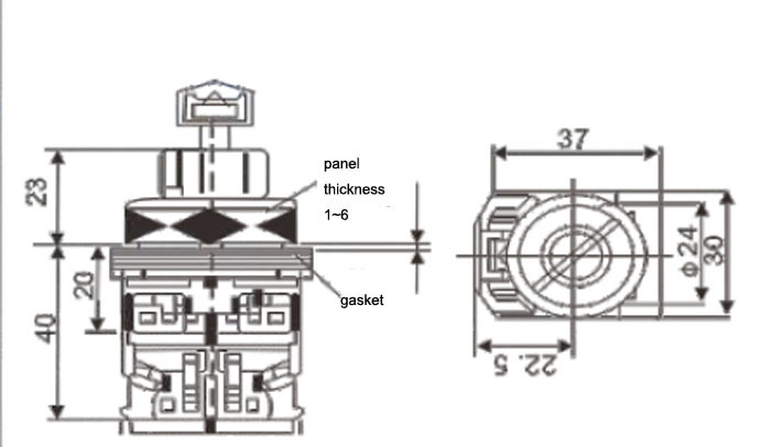 Dia.30mm 3position Key Switch 2position Lock Selector