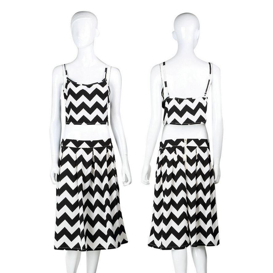 Women Two Piece Stripe Spaghetti Crop Top Midi Skirt Set