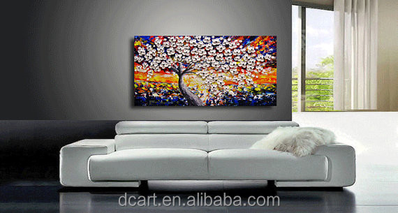 Zware textuur olieverfschilderij moderne woonkamer