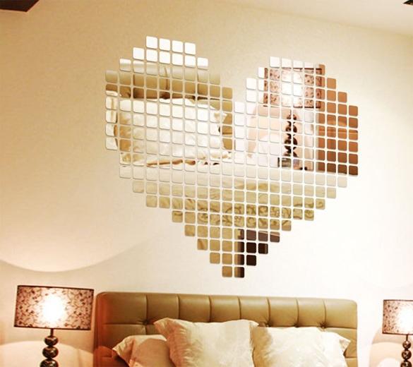 100 Teile/los 2x2 Cm Silber 3D Wandaufkleber Mosaik Spiegel Sofa Wohnzimmer  Dekoration