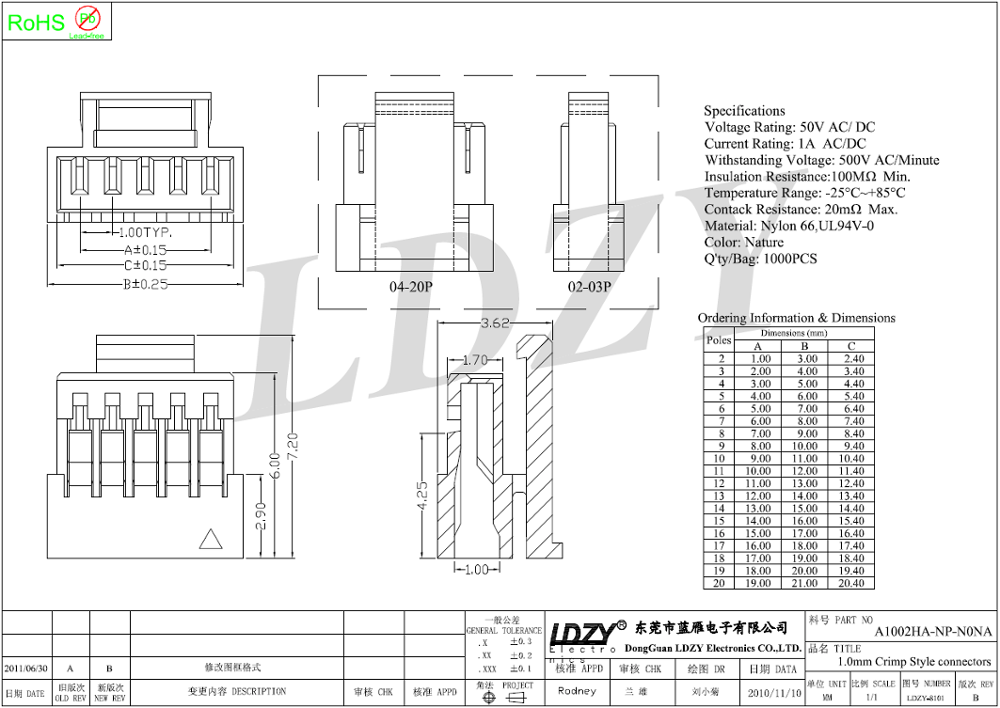 Amp 4pin 2.0mm Pitch Female Housing Connector With Jst Nh1